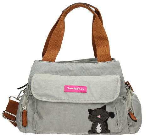 Swanky Swans Julie Kempton Handbag with Lola Cat Motif Light GreyCheap Fashion Wedding Work School