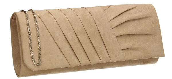 SWANKYSWANS Karma Faux Suede Clutch Bag Beige Cute Cheap Clutch Bag For Weddings School and Work