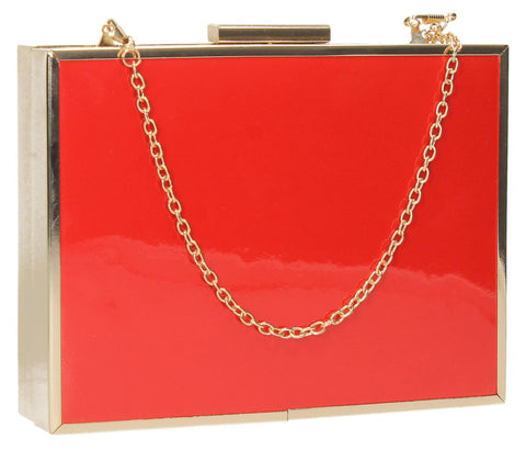 Swanky Swans Abby Diamante Plain Womens Clutch Bag Purse Orange Small