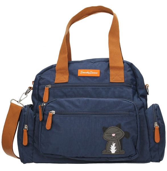 Swanky Swans Kempton Handbag with Lola Cat Motif Navy BlueCheap Fashion Wedding Work School