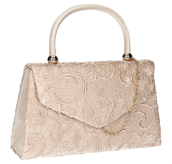 SWANKYSWANS Kendall Lace Clutch Bag Champagne Cute Cheap Clutch Bag For Weddings School and Work