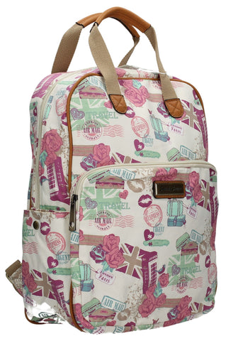 Swanky Swans Kensington London Travel Backpack with Matching Ipad / Tablet Case - BeigeBeautiful cheap school backpack bag