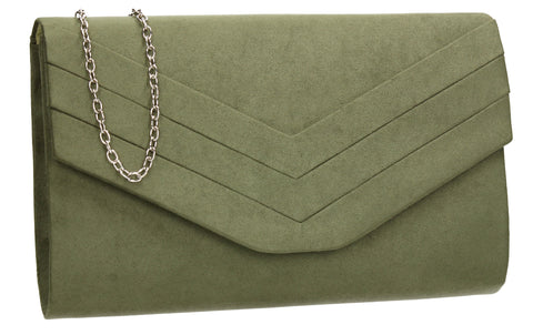 SwankySwans Samantha V Detail Clutch Bag Khaki Brown Clutch Bag Envelope Faux Suede Flapover