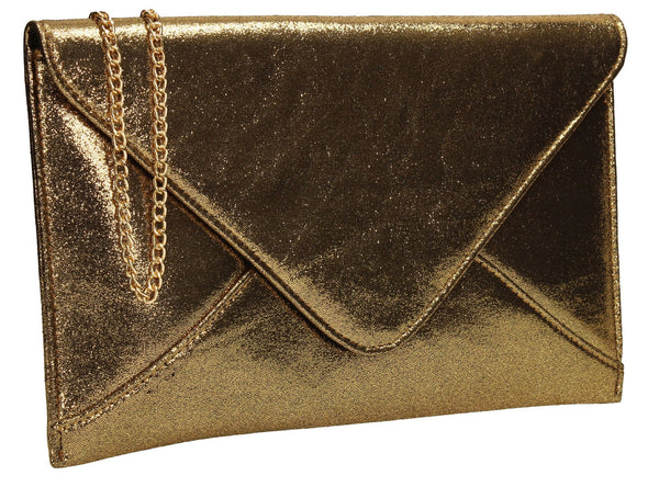 SwankySwans Khloe Clutch Bag Gold Clutch Bag Envelope Glitter  Night Out Slim Faux Leather Wedding