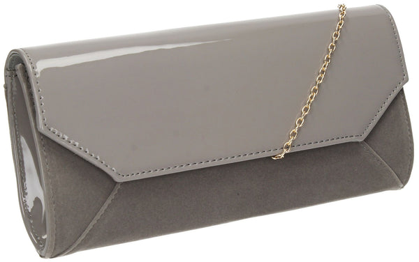 SwankySwans Kiera Clutch Bag Grey Clutch Bag Faux Suede Flapover Grey Night Out Patent