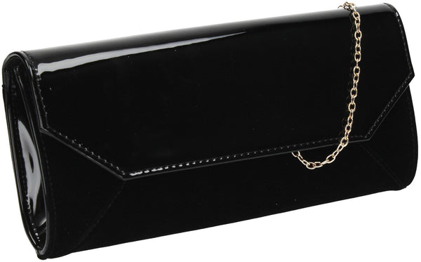 SwankySwans Kiera Clutch Bag Black Clutch Bag Faux Suede Flapover Night Out Patent