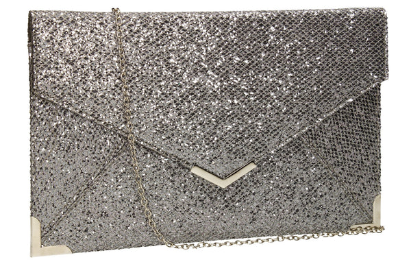 SwankySwans Korie Clutch Bag Grey Clutch Bag Envelope Faux Suede Glitter Grey Night Out Party