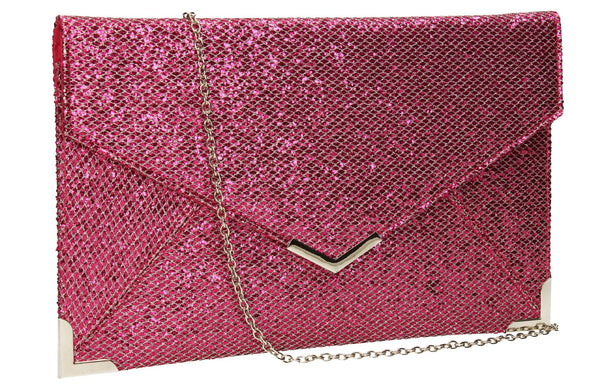 SWANKYSWANS Korie Clutch Bag Fuschia Cute Cheap Clutch Bag For Weddings School and Work