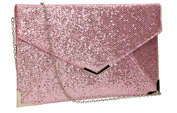 SWANKYSWANS Korie Clutch Bag Pink Cute Cheap Clutch Bag For Weddings School and Work