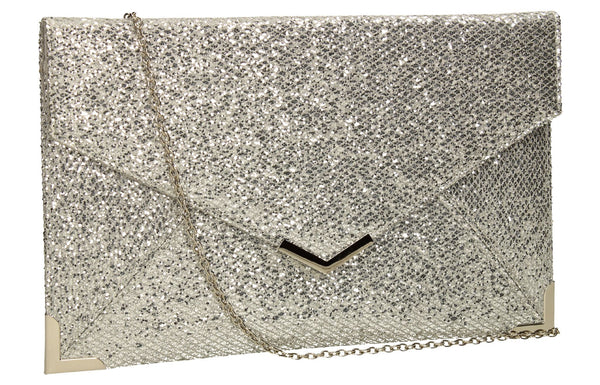 SWANKYSWANS Korie Clutch Bag Silver Cute Cheap Clutch Bag For Weddings School and Work