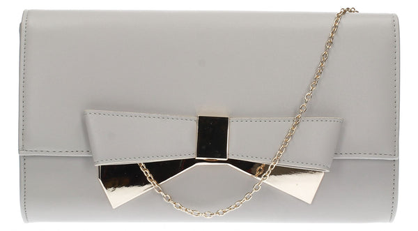 SWANKYSWANS Laura Bow Clutch Bag Grey Cute Cheap Clutch Bag For Weddings School and Work