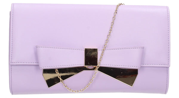SWANKYSWANS Laura Bow Clutch Bag Lilac Cute Cheap Clutch Bag For Weddings School and Work