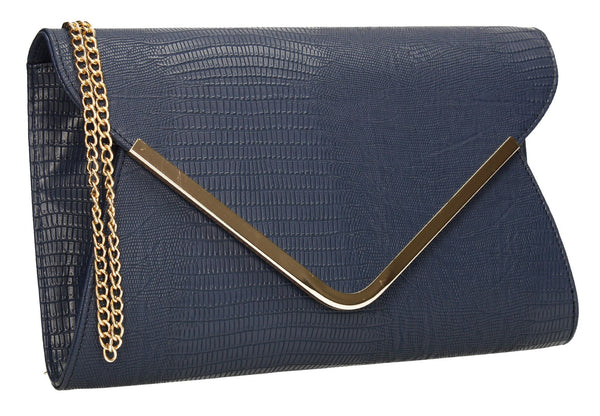 SwankySwans Lauren Clutch Bag Navy Blue Clutch Bag Flapover Night Out Party Faux Leather