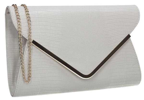 SWANKYSWANS Lauren Clutch Bag Grey Cute Cheap Clutch Bag For Weddings School and Work