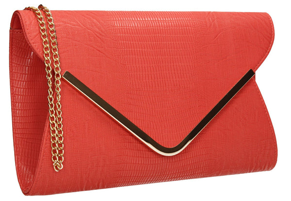 SWANKYSWANS Lauren Clutch Bag Coral Cute Cheap Clutch Bag For Weddings School and Work