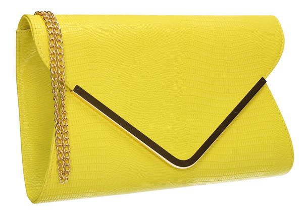 SwankySwans Lauren Clutch Bag Yellow Clutch Bag Flapover Formal Party Faux Leather Yellow