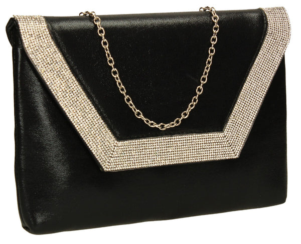 SwankySwans Lilly Clutch Bag Black Clutch Bag Diamante Flapover Night Out Slim Faux Leather