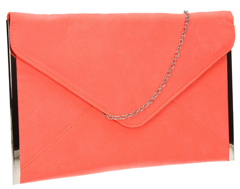 SwankySwans Louis Clutch Bag Neon Coral Clutch Bag Envelope Faux Suede Party  Slim