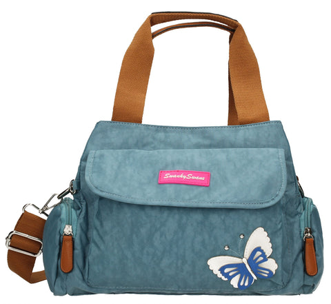 Swanky Swans Madison Handbag with 3d Butterfly Motif Light BlueCheap Fashion Wedding Work School