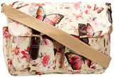 Swanky Swans Maple Butterfly Print Double Pocket Satchel Off White Perfect for Back to school!
