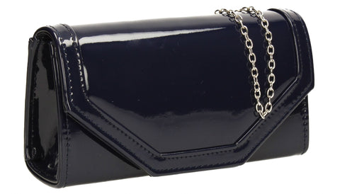 SwankySwans Melania Clutch Bag Navy Clutch Bag Flapover Navy Patent