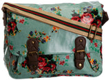 Swanky Swans Mila Floral Double Pocket Satchel Mint Green Perfect for Back to school!