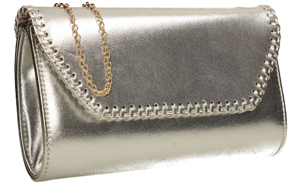 SWANKYSWANS Miller Clutch Bag Silver Cute Cheap Clutch Bag For Weddings School and Work