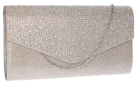 SwankySwans Montary Clutch Bag Champagne Clutch Bag Diamante Envelope Faux Suede  Metallics Party Wedding