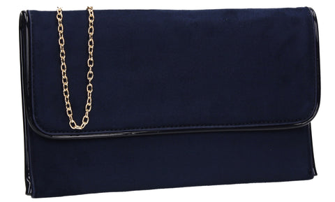 SwankySwans Kora Clutch Bag Navy Casual Clutch Bag Envelope Faux Leather Flapover Navy