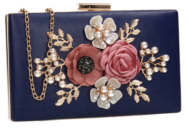 SWANKYSWANS Valery Floral Detail Clutch Bag Navy Cute Cheap Clutch Bag For Weddings School and Work