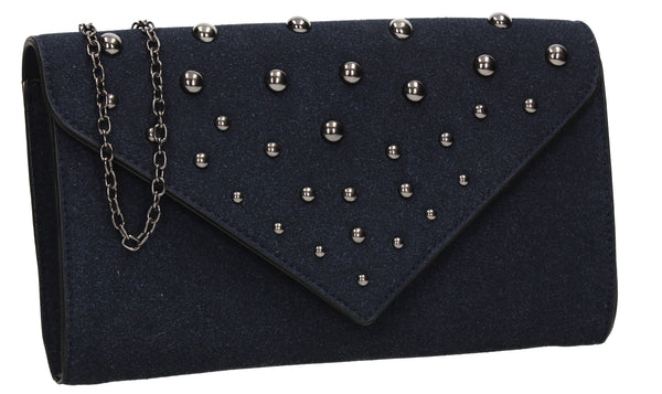 SWANKYSWANS Nissa Faux Suede Clutch Bag Navy Cute Cheap Clutch Bag For Weddings School and Work