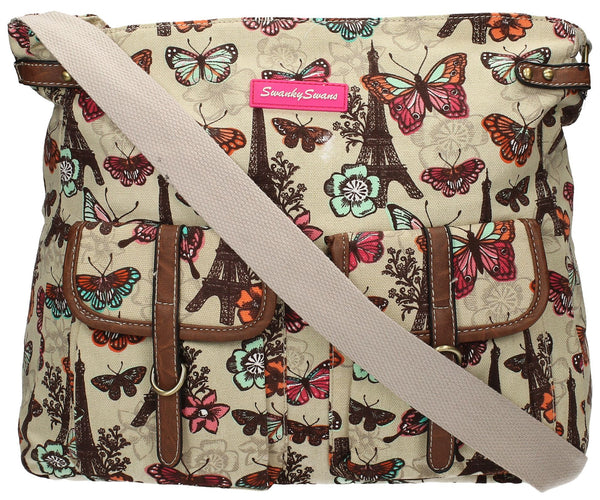 Swanky Swans Noel Paris Butterfly Floral Large Twin Pocket Crossbody BagWomens Girls Boys School Crossbody Animal Cute