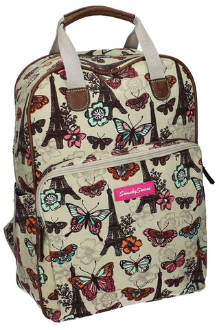 Swanky SwansNoel Paris Butterfly Floral Backpack with Tablet Case - WhiteBeautiful cheap school backpack bag