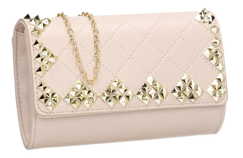 SWANKYSWANS Brittany Diamond Pattern Stud Clutch Bag Beige Cute Cheap Clutch Bag For Weddings School and Work