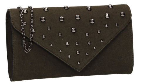 Nissa Faux Suede Clutch Bag Olive