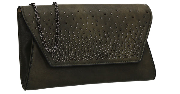 SWANKYSWANS Paige Diamante Stud Clutch Bag Olive Cute Cheap Clutch Bag For Weddings School and Work