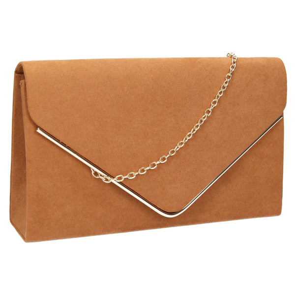 SWANKYSWANS Oscar Clutch Bag Tan Cute Cheap Clutch Bag For Weddings School and Work
