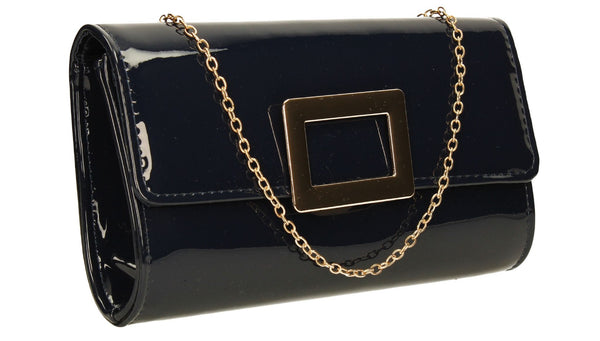 SwankySwans Panama Clutch Bag Navy Blue Clutch Bag Flapover Night Out Party Patent