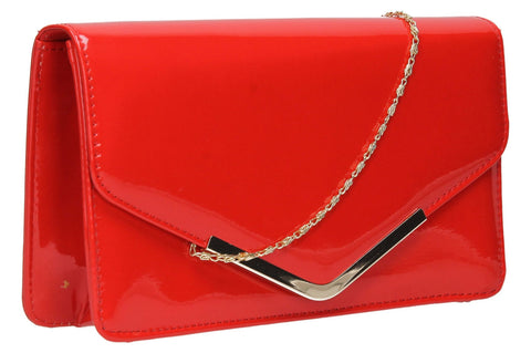 SwankySwans Paris Clutch Bag Red Clutch Bag Envelope Night Out Party Patent Red