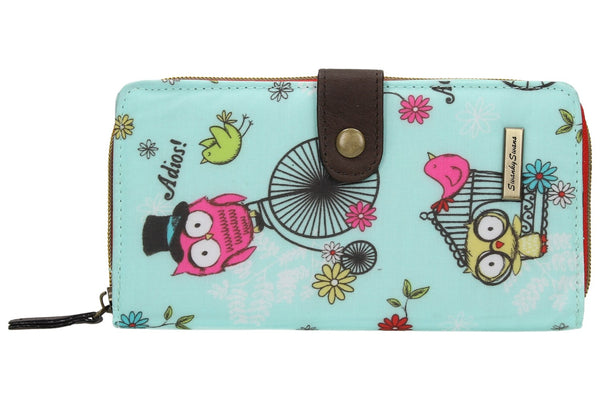 Swanky Swank Pembleton Owl Large Bi-fold Purse BlueCheap Cute School Wallets Purses Bags Animal