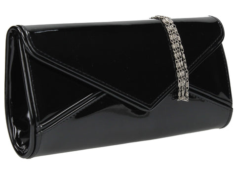 SwankySwans Perry Patent Clutch Bag - Black Clutch Bag Envelope Party Patent
