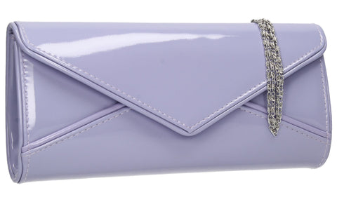 SWANKYSWANS Perry Patent Clutch Bag - Lilac Cute Cheap Clutch Bag For Weddings School and Work