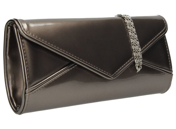 SWANKYSWANS Perry Patent Clutch Bag - Pewter Cute Cheap Clutch Bag For Weddings School and Work