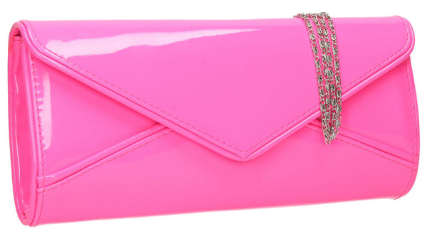 SWANKYSWANS Perry Patent Clutch Bag - Neon Pink Cute Cheap Clutch Bag For Weddings School and Work