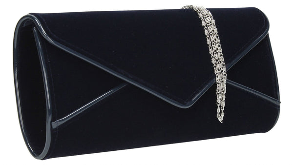 SwankySwans Perry Velvet Clutch Bag - Navy Blue Blue Clutch Bag Envelope Faux Suede Night Out Party