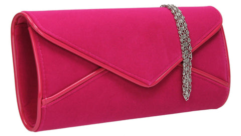 SWANKYSWANS Perry Velvet Clutch Bag - Fuschia Cute Cheap Clutch Bag For Weddings School and Work