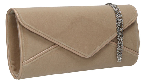 SWANKYSWANS Perry Velvet Clutch Bag - Beige Cute Cheap Clutch Bag For Weddings School and Work