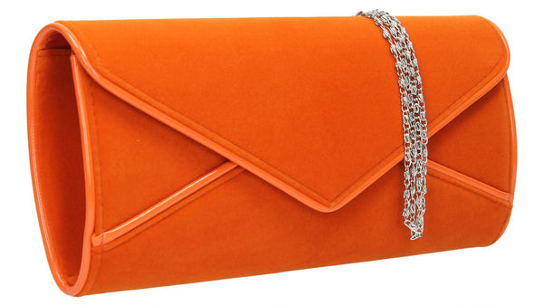 SwankySwans Perry Velvet Clutch Bag - Orange Clutch Bag Envelope Faux Suede Night Out Orange Party