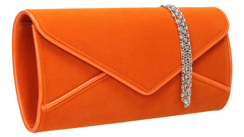SWANKYSWANS Perry Velvet Clutch Bag - Orange Cute Cheap Clutch Bag For Weddings School and Work