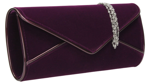 SwankySwans Perry Velvet Clutch Bag - Purple Clutch Bag Envelope Faux Suede Night Out Party Purple
